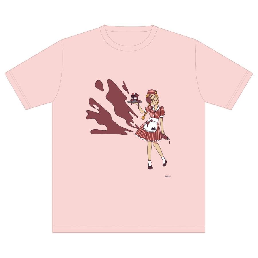 アメリカンダイナー・チョコレート ライトピンク サナダシン オリジナルイラスト プリント 半袖  Tシャツ|kuriten|02