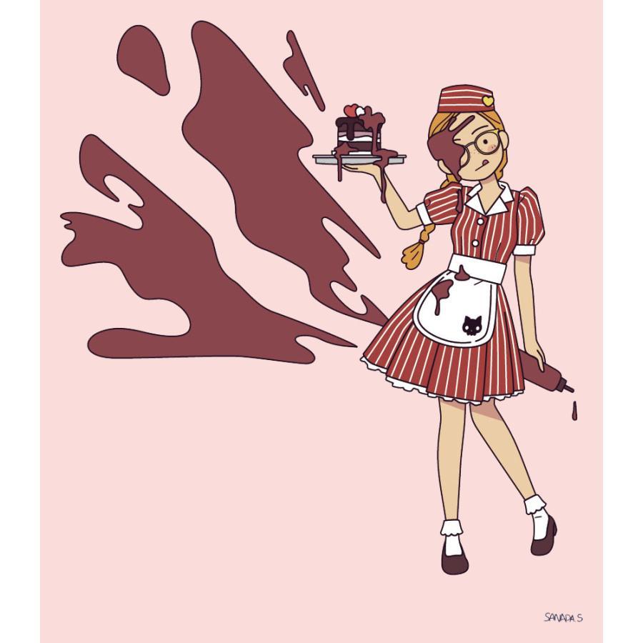 アメリカンダイナー・チョコレート ライトピンク サナダシン オリジナルイラスト プリント 半袖  Tシャツ|kuriten|03
