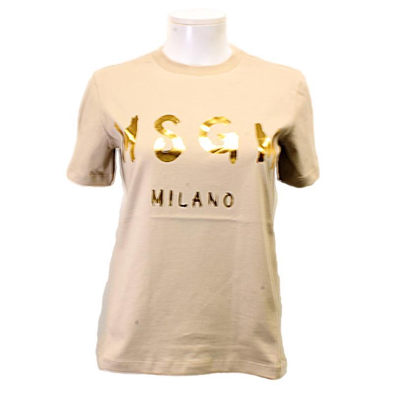 MSGM エムエスジーエム / 日本限定モデル (ベージュ×ゴールド) MDM60J / シャツ レディース Tシャツ 筆書き ロゴ / おしゃれ kuriya-house