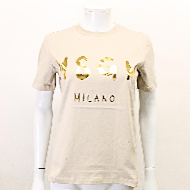 MSGM エムエスジーエム / 日本限定モデル (ベージュ×ゴールド) MDM60J / シャツ レディース Tシャツ 筆書き ロゴ / おしゃれ kuriya-house 02