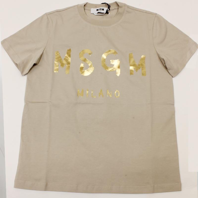 MSGM エムエスジーエム / 日本限定モデル (ベージュ×ゴールド) MDM60J / シャツ レディース Tシャツ 筆書き ロゴ / おしゃれ kuriya-house 05
