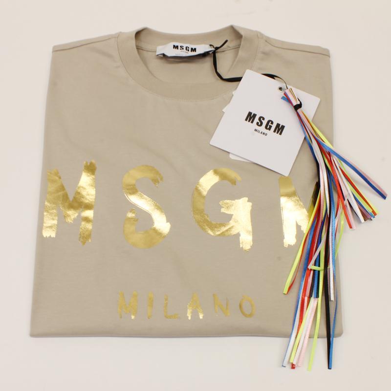 MSGM エムエスジーエム / 日本限定モデル (ベージュ×ゴールド) MDM60J / シャツ レディース Tシャツ 筆書き ロゴ / おしゃれ kuriya-house 06