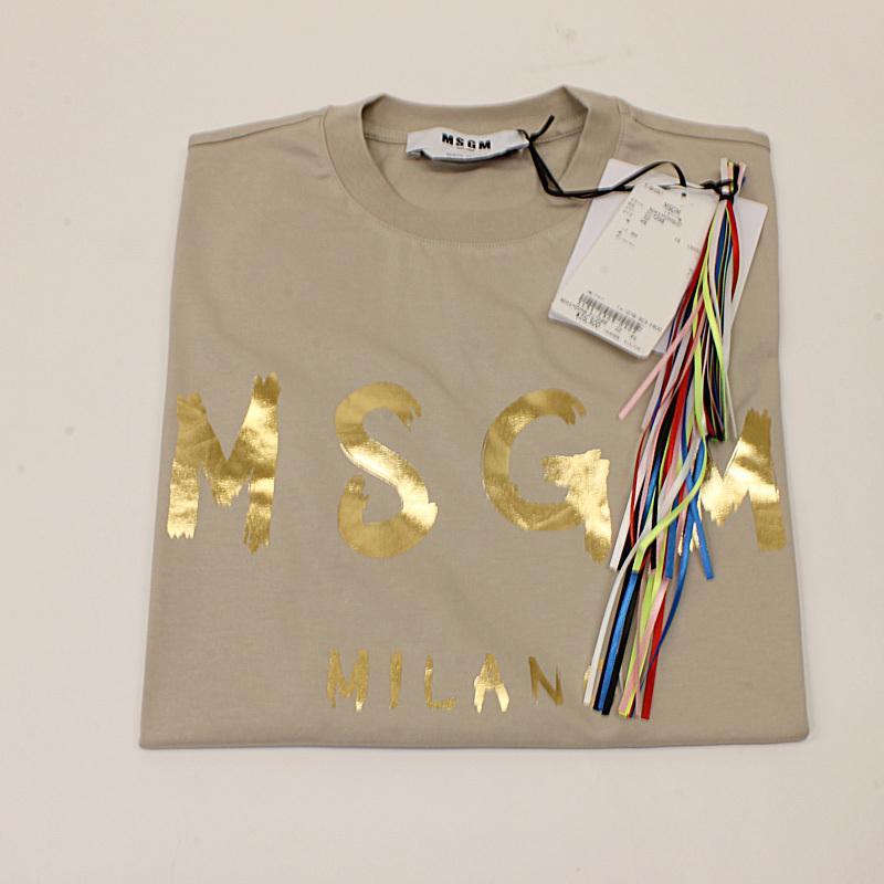 MSGM エムエスジーエム / 日本限定モデル (ベージュ×ゴールド) MDM60J / シャツ レディース Tシャツ 筆書き ロゴ / おしゃれ kuriya-house 07