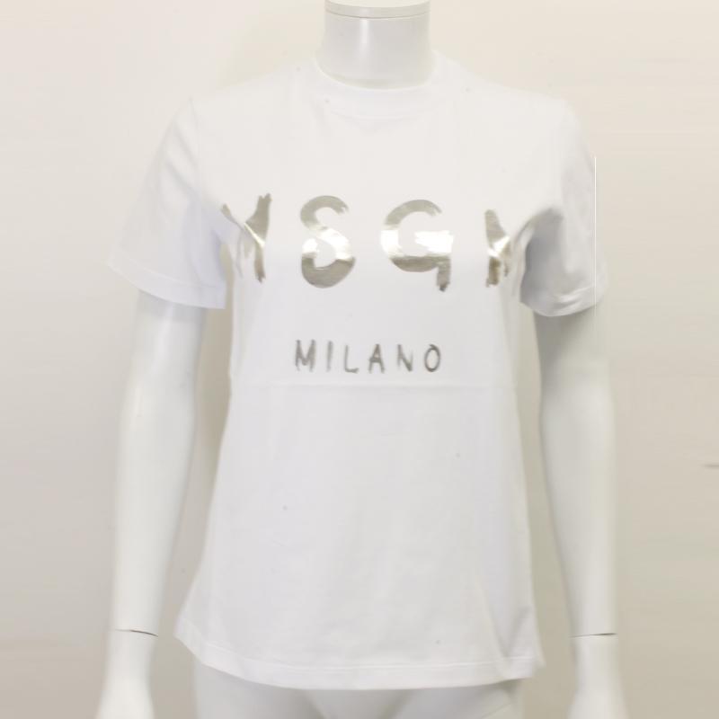 MSGM エムエスジーエム / 日本限定モデル (ホワイト×シルバー) MDM60J / シャツ レディース Tシャツ 筆書き ロゴ / おしゃれ kuriya-house 02