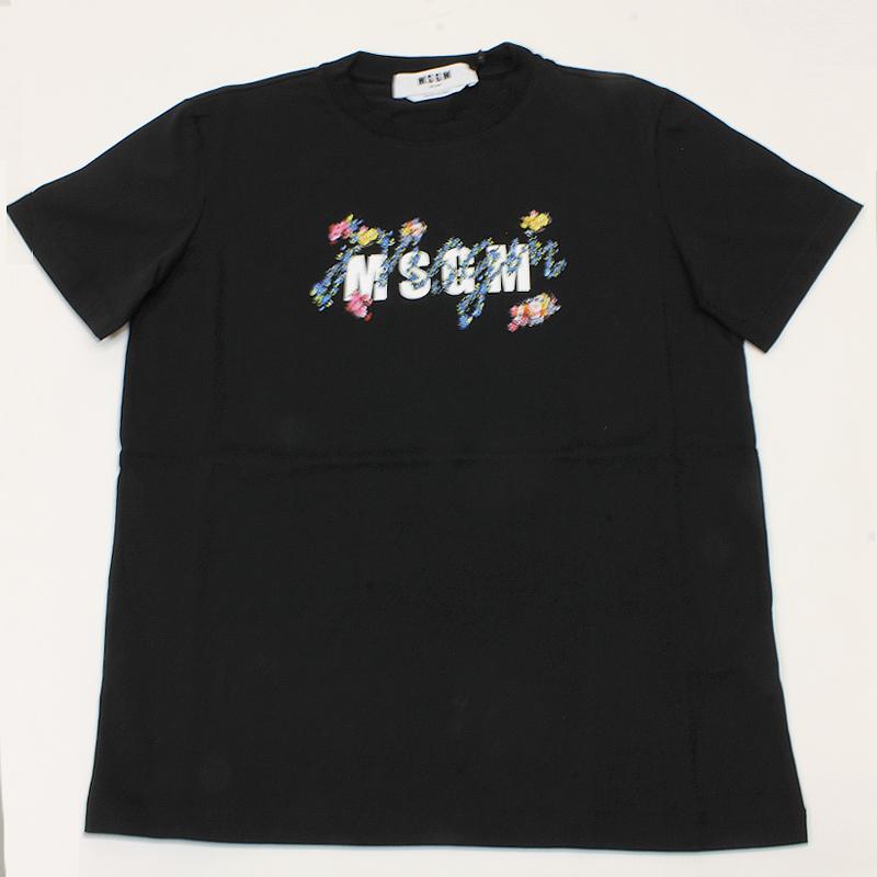 MSGM エムエスジーエム / フローラル 3041MDM170 ブラック / シャツ レディース Tシャツ 花柄 ロゴ 半袖 / 2021春夏新作|kuriya-house|05