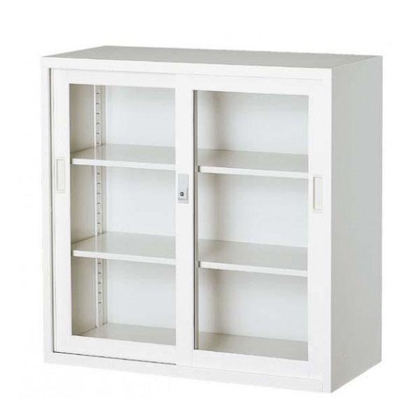 オフィス向け 一般書庫・ホワイト 3×3型引違書庫 3×3型引違書庫 3号ガラス戸 COM-303G-W※