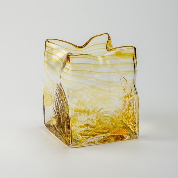スクエア花器 アンバー 花瓶 花器 ガラス 記念品 お祝い プレゼント 黒壁 kurokabe 02