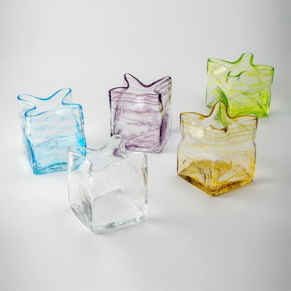 スクエア花器 アンバー 花瓶 花器 ガラス 記念品 お祝い プレゼント 黒壁 kurokabe 05