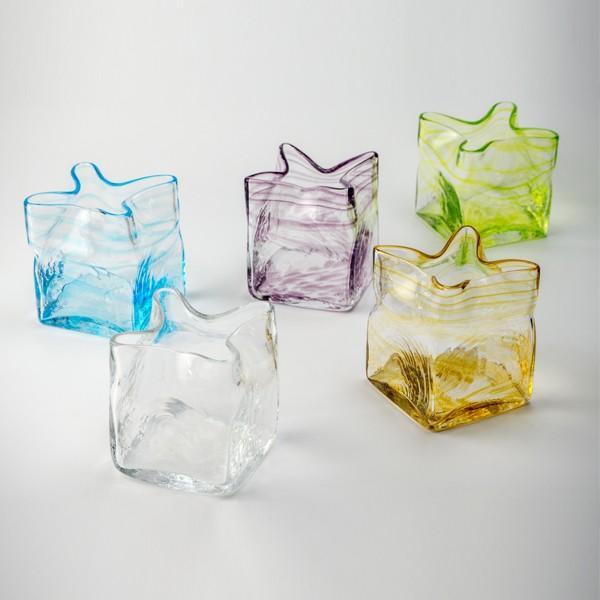 スクエア花器 アンバー 花瓶 花器 ガラス 記念品 お祝い プレゼント 黒壁 kurokabe 06