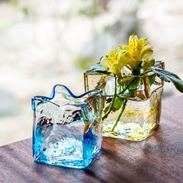 スクエア花器 アンバー 花瓶 花器 ガラス 記念品 お祝い プレゼント 黒壁 kurokabe 07