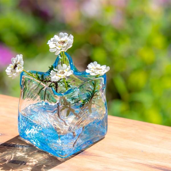 スクエア花器 アンバー 花瓶 花器 ガラス 記念品 お祝い プレゼント 黒壁 kurokabe 08