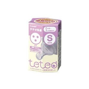 コンビ teteo テテオ乳首 3穴 Sサイズ 母乳・ミルクトレーニング用 0ヶ月〜3ヶ月頃まで|kusurinofukutaro