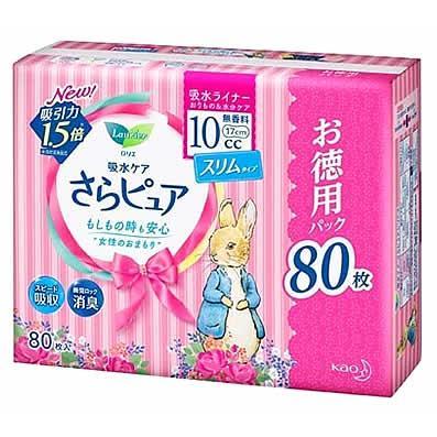 花王 ロリエ さらピュア 10cc 無香料 吸水ライナー スーパージャンボパック 17cm (80枚入)|kusurinofukutaro