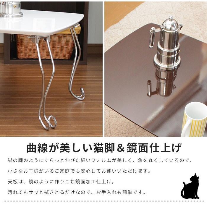 折れ脚テーブル コンパクト 猫脚 ブル おしゃれ 机 折りたたみテーブル 木製 作業台 小型 ウッド 1人暮らし ローテーブル 鏡面 座卓|kutsurogu|02