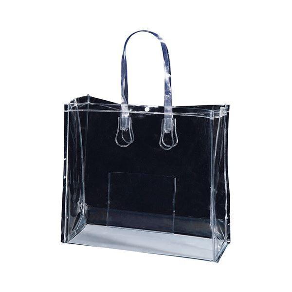 (まとめ)TANOSEE 透明PVCバッグB4ワイド ポケット・ホック付 1パック(10枚)〔×3セット〕