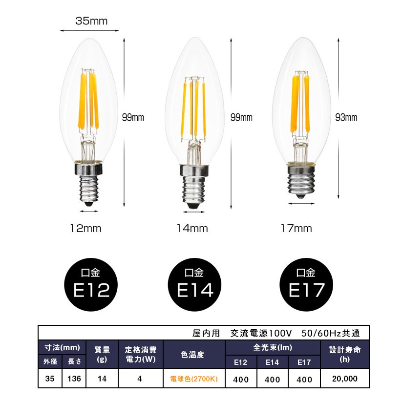 LED電球 シャンデリア球 フィラメント型 クリアタイプ led E14 E12 E17 40W相当 口金 電球色 2700K クリヤー アンティーク クリア|kyodo-store|02