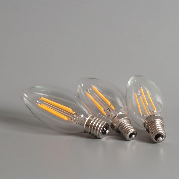 LED電球 シャンデリア球 フィラメント型 クリアタイプ led E14 E12 E17 40W相当 口金 電球色 2700K クリヤー アンティーク クリア|kyodo-store|03