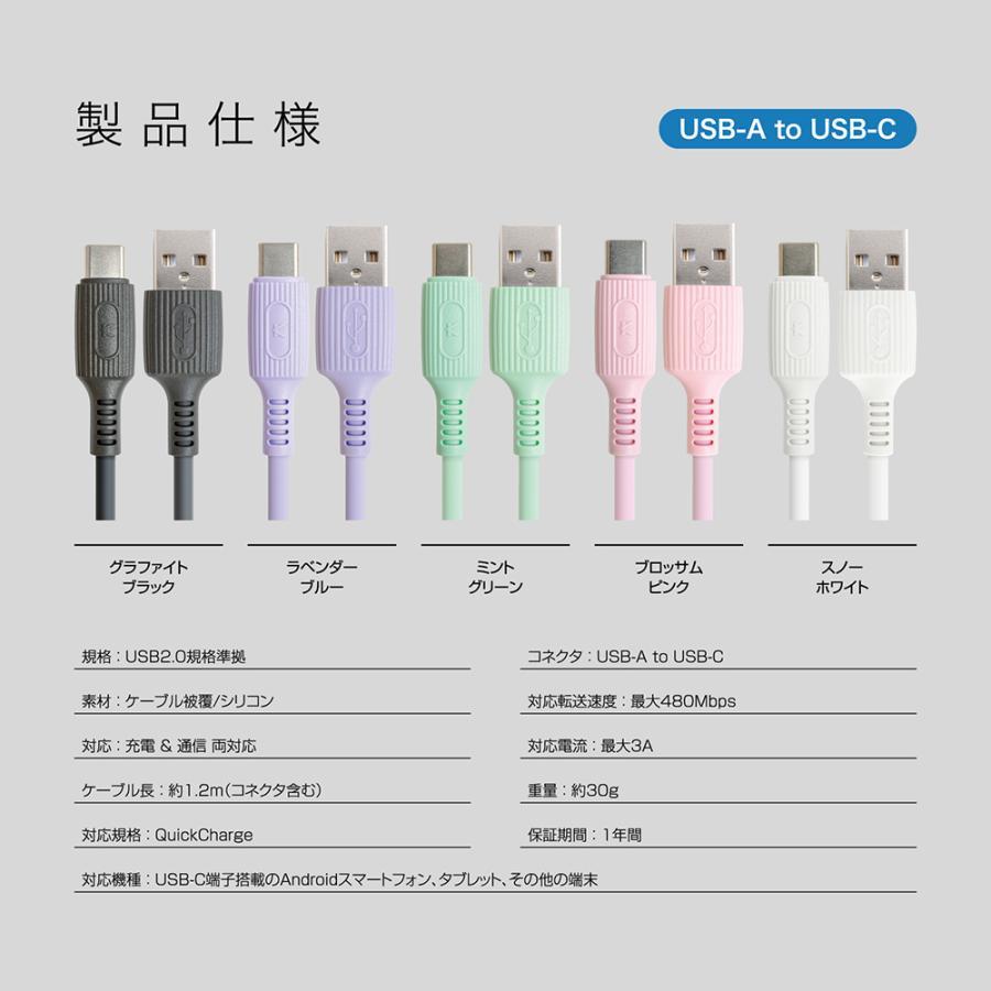 USB Type-C ケーブル シリコン 急速充電 PD QC 対応 A to C / C to C 選べるコネクター タイプc 対応 柔らかい Flexケーブル 1.2m KYOHAYA JKYC kyohaya 16