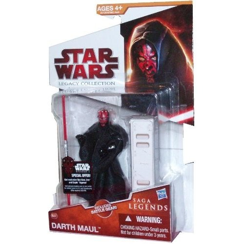 Star Wars Legacy Collection Series Saga Legends 4 Inch Tall Action Figure - SL07 Darth Maul with Hooded 黒 Cloak and 赤 Double-Bladed Lightsaber