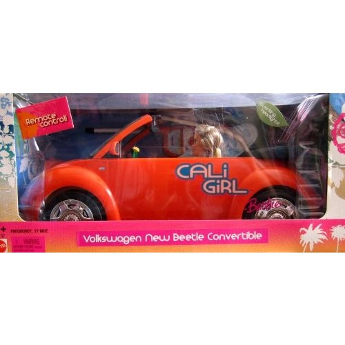 Barbie Cali Girl REMOTE CONTROL VOLKSWAGEN New Beetle Convertible Vehicle & Doll w Working Headlights! (2005 RADIO SHACK)