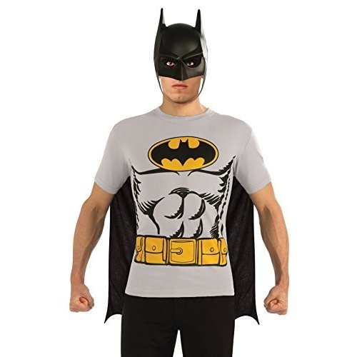 Rubie's DC Comics Batman T-Shirt With Cape And Mask, 黒, Large