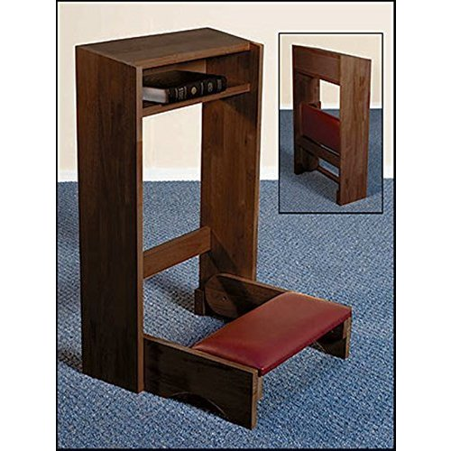 Religious Gifts Church Travel Wooden Folding Prayer Kneeler in Walnut Finish, 32 Inch