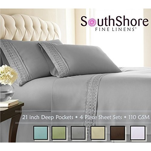 Southshore Fine Linens〓 4-Piece 21 21 Inch Deep Pocket Sheet Set with Beautiful Lace - Steel Gray - King