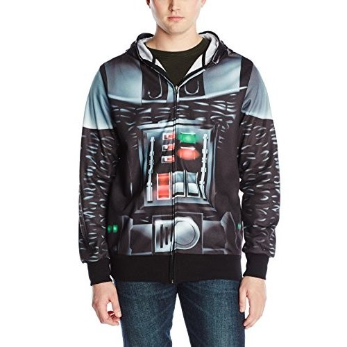 Star Wars Men's Vader Is Here Sublimated Costume Fleece, 黒, Large