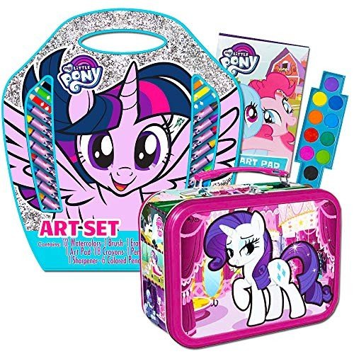 My Little Pony Art Coloring Set -- My Little Pony Tin Lunch Box with Coloring Activities, Crayons, Colo赤 Pencils, Water Colors and More (MLP School