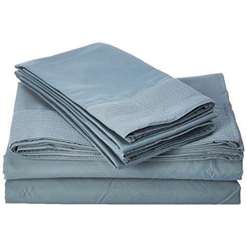 Southshore Fine Linens - 4 Piece Piece - Extra Deep Pocket Pleated Sheet Set, King, Steel 青