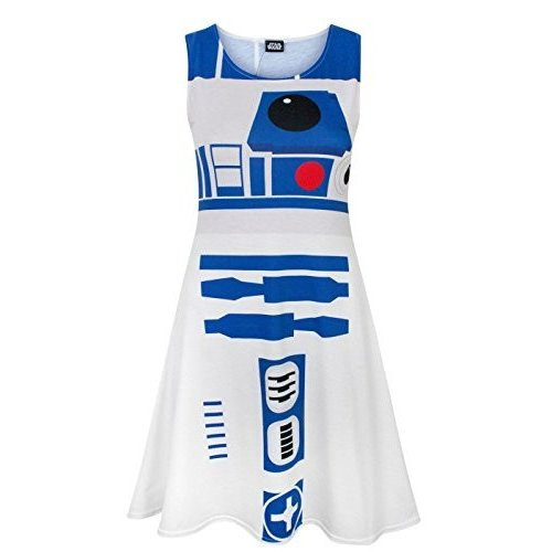 Star Wars R2D2 Women's Cosplay Costume Dress (M) 白い