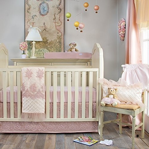 Crib Bedding Set Remember My Love by Glenna Jean | Baby Girl Nursery + Hand Crafted with Premium Quality Fabrics | Includes Quilt, Sheet and Bed Skirt