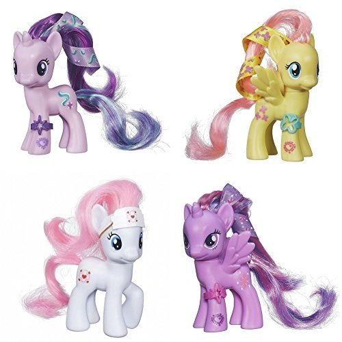My Little Pony Friendship is Magic Set of 4 Starlight Glimmer, Fluttershy, Nurse 赤 Heart Pony & Twilight Sparkle Figure Set