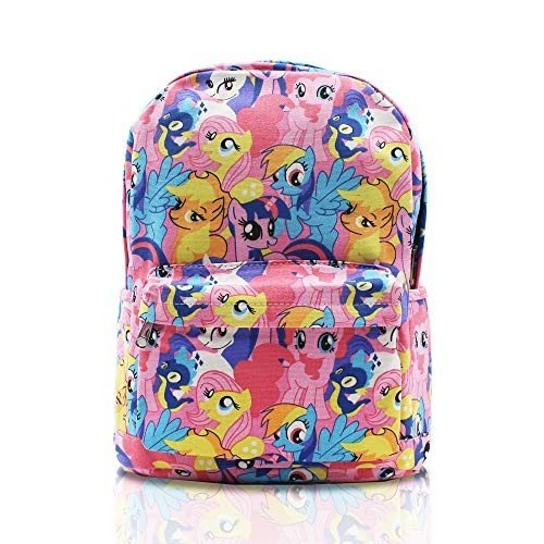 Finex My Little Pony ピンク Canvas Cute Cartoon Casual Backpack with 15 inch Laptop Storage Compartment Daypack Travel Snack Sport Book Bag Gift