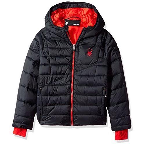 Spyder Boys' Big Upside Down Jacket, Black, XL