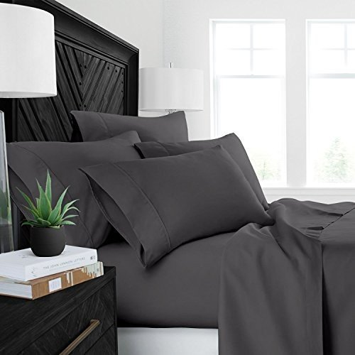 Sleep Restoration Luxury Bed Sheets with with All-Natural Pure Aloe Vera Treatment - Eco-Friendly, Hypoallergenic 4-Piece Sheet Set Infused with Soothing/M
