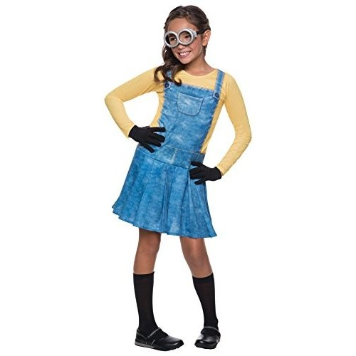 Rubie's Girl's Minion Outfit Funny Theme Fancy Dress Child Halloween Costume, Child S (4-6) 青/黄