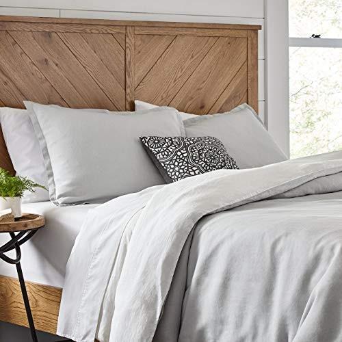 Stone & Beam Reversible Marcana Linen Duvet Comforter Cover Set, King, 104