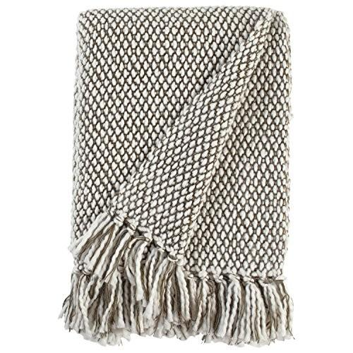 """Stone Stone & Beam Modern Woven Farmhouse Throw Blanket, Soft and Cozy, 50"""" x 60"""", 褐色 and 白い"""