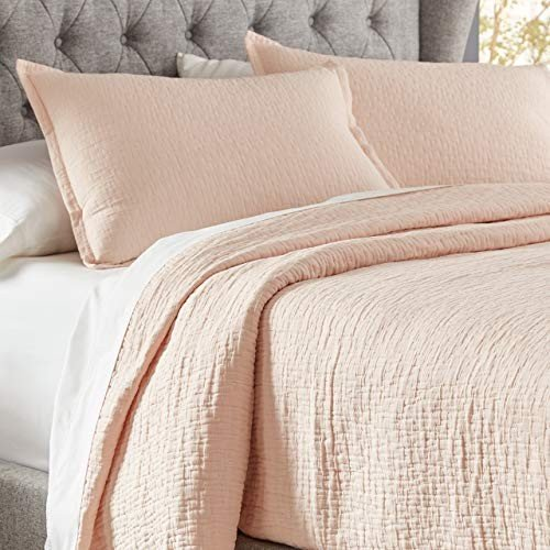 Stone & Beam Locklar 100% Cotton Lightweight Textu赤 Full / Queen Coverlet Set, Easy Care, 90 x 90, Blush