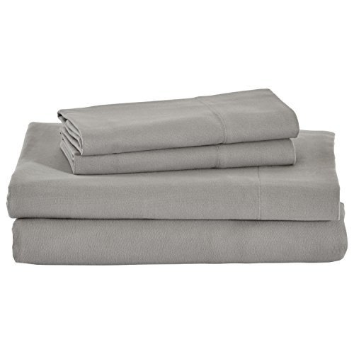 Stone & Beam Rustic Solid 100% 100% Cotton Flannel Bed Sheet Set, Full, Heather