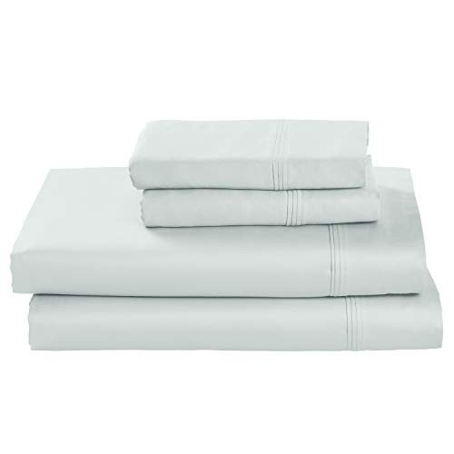 Stone & Beam HygroCotton Sateen Bed Sheet Set, Easy Care, Full, Sea Spray