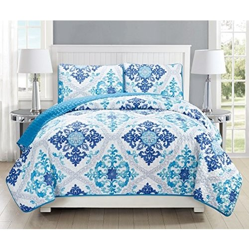 GrandLinen 3-Piece Fine printed Quilt Set Reversible Reversible Bedspread Coverlet (Double) FULL SIZE Bed Cover (Turquoise, 青, 白い, グレー, Navy)