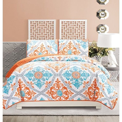 3-Piece Fine Printed Quilt Set Reversible Bedspread Bedspread Coverlet Full Size Bed Cover (Turquoise, 青, 白い, グレー, オレンジ)