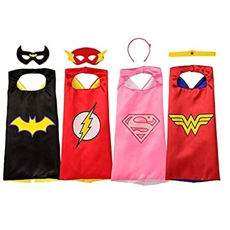 Rubie's Super Hero Cape Set Officially licensed DC Comics Assortment 4 Capes, 2 Masks, and 2 Headbands, One Size