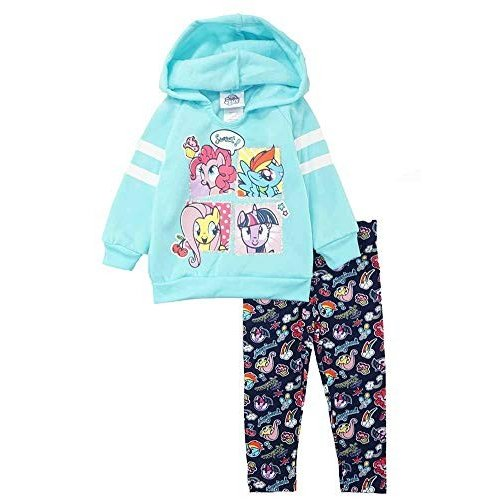 My Little Pony Toddler Girls' 2 Piece Fleece Hoodie Set, 青, 2T