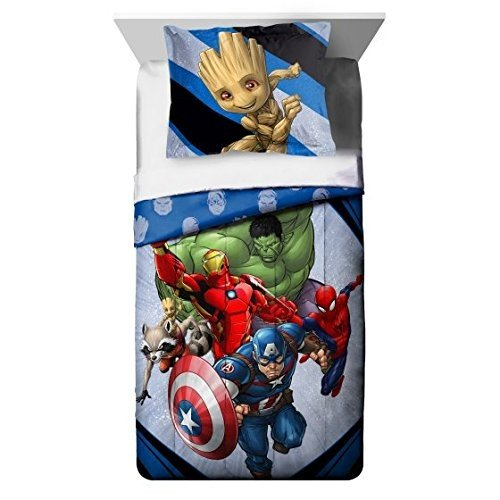 Avengers Marvel's (2018) 6pc Night Light, Twin Comforter and Sheet Set Bedding Collection with Spiderman, Hulk, Iron Man, Captain America and more