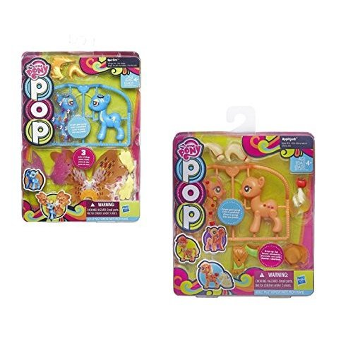 Secret for Longevity 2-Pack Little Pony Horse 青 Spitfire オレンジ Applejack Figures Pop Style Kit Play Set Toys
