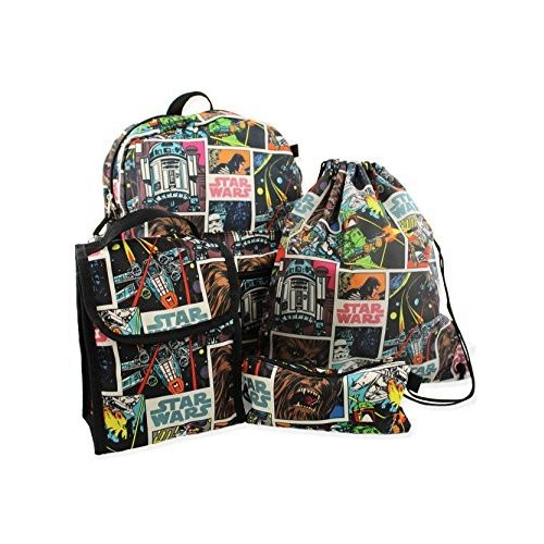 Star Wars 5 piece Backpack and Snack Bag Set (One Size, 黒/Multi)