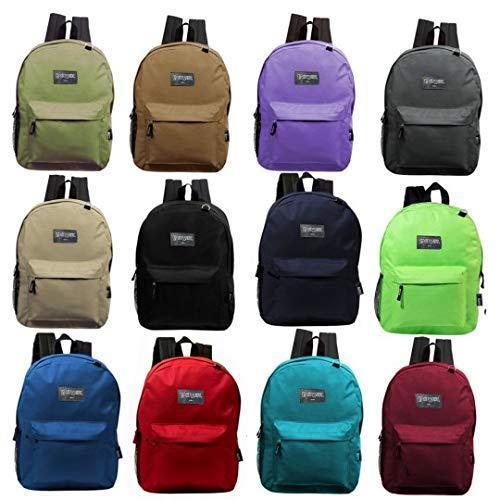 24 Pack - 17 Inch Wholesale Classic Bulk Backpacks in 12 Randomly Assorted Colors - Case of Bookbags